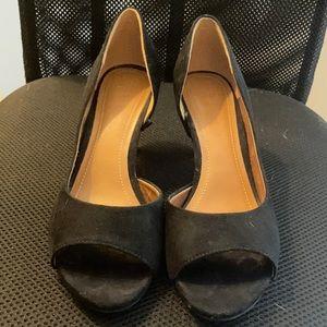 H&M Faux Suede Black Heels